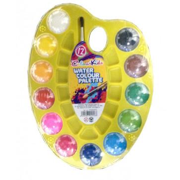 Acuarele semi-uscate, pensula, paleta, 12 culori/set, PIGNA ColourKids