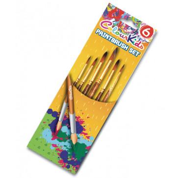 Pensule 6 buc/set, varf ascutit nr. 2/4/6/8/10/12, PIGNA ColourKids