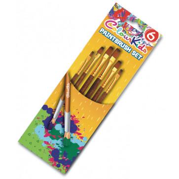 Pensule 6 buc/set, varf plat nr. 2/4/6/8/10/12, PIGNA ColourKids