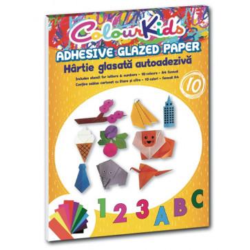 Hartie glasata, adeziva, A4, 10 culori/set, PIGNA ColourKids