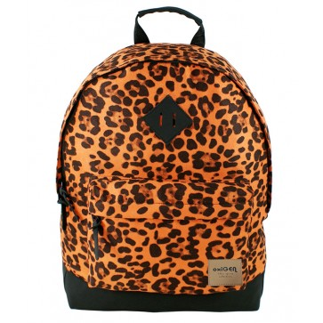 Rucsac, vintage, motiv leopard, portocaliu, PIGNA School Friendly Oxigen Canvas