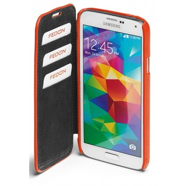 Carcasa Samsung Galaxy S5, portocaliu, din piele de bovina, FEDON