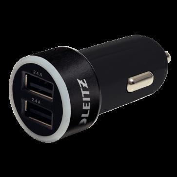 Duo-incarcator USB pentru masina, negru, LEITZ Complete Traveller