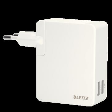 Duo-incarcator universal USB pentru perete, 24 W, alb, LEITZ Complete