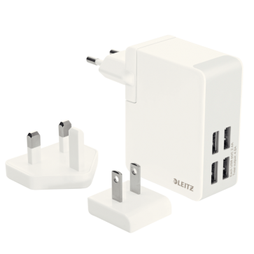 Incarcator de perete cu USB, 24W, alb, LEITZ Complete