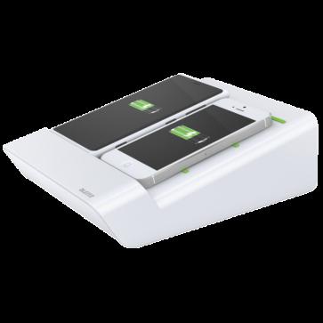 Duo-incarator de birou pentru 2 smartphone-uri sau o tableta PC, alb, LEITZ Complete