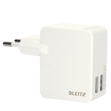 Duo-incarcator universal USB pentru perete, 12W, alb, LEITZ Complete