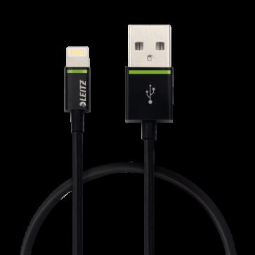 Cablu de date - USB, 30 cm, negru, LEITZ Complete Lightning