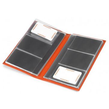 Clasor pentru carti de vizita, portocaliu, in imitatie de piele, FEDON Classica P-Biglietti-84