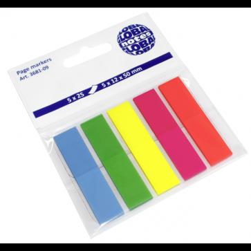 Index autoadeziv, din plastic, 12 x 50mm, 25 indecsi/culoare, 5 culori neon/set, GLOBAL NOTES