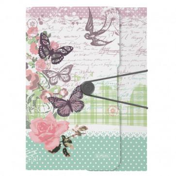 Mapa din plastic, A4, cu elastic, HERLITZ Ladylike Butterfly