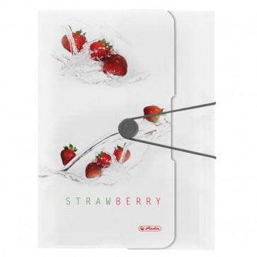 Dosar mapa, A4, inchidere cu elastic, HERLITZ Fresh Fruit capsuni