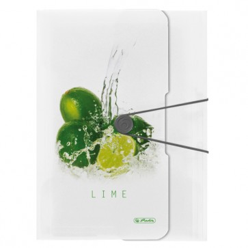 Dosar mapa, A4, inchidere cu elastic, HERLITZ Fresh Fruit lime