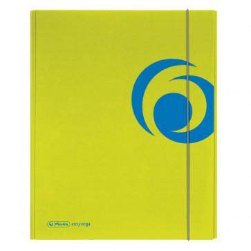 Dosar mapa, carton lucios, A4, XL, inchidere cu elastic, sporty lemon, HERLITZ