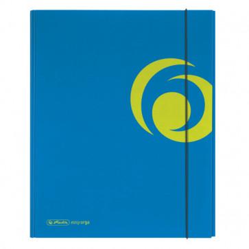 Dosar mapa din carton lucios, A4, XL, inchidere cu elastic, albastru intens, HERLITZ