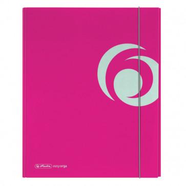 Dosar mapa, carton lucios, A4, XL, inchidere cu elastic, roz electrizant, HERLITZ