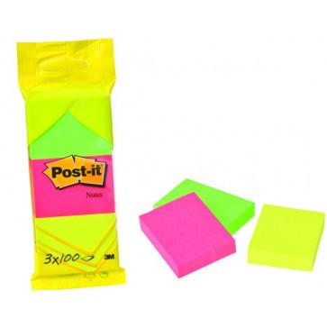 Notes autoadeziv (3 seturi), 38 x 51mm, 100 file/set, diferite culori neon, POST-IT