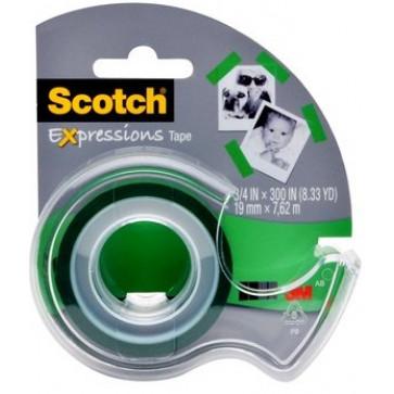Banda adeziva decorativa, verde medium, dispenser, SCOTCH
