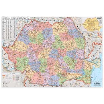 Harta plastifiata, Romania administrativa, 160 x 120cm, baghete lemn, STIEFEL