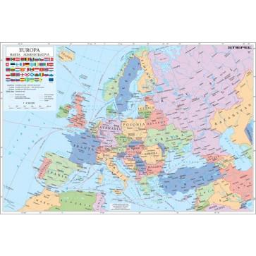 Harta plastifiata, Europa administrativa + harta contur, 160 x 120cm, baghete lemn, STIEFEL