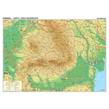 Harta plastifiata, Romania fizico-geografica, 100 x 70cm, baghete lemn, STIEFEL