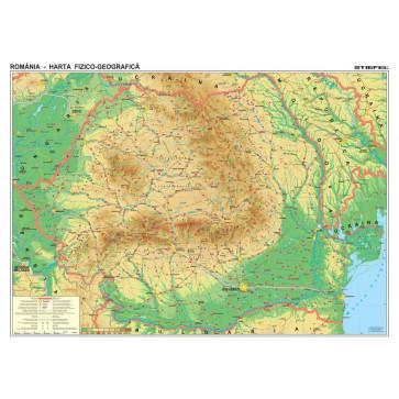 Harta plastifiata, Romania fizico-geografica, 200 x 140cm, baghete lemn, STIEFEL