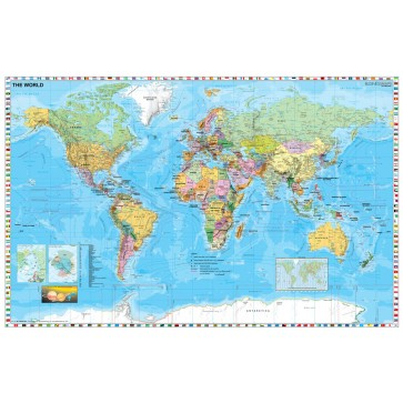 Harta plastifiata, Statele lumii cu steaguri, 140 x 100cm, baghete lemn, STIEFEL