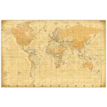 Harta plastifiata, lumea vintage, 160 x 120cm, bagheta lemn, STIEFEL