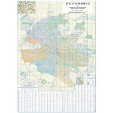 Harta plastifiata, Bucuresti si localitati limitrofe administrativ-rutiera, 200 x 140cm, AMCO PRESS