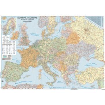 Harta plastifiata, Europa politica si rutiera, 140 x 100cm, AMCO PRESS