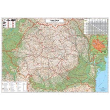 Harta plastifiata, Romania rutiera, 100 x 70cm, baghete plastic, STIEFEL