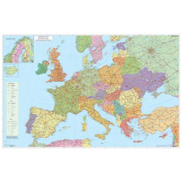Harta plastifiata, Europa rutiera, 140 x 100cm, STIEFEL