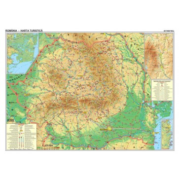 Harta plastifiata, Romania turistica, 160 x 120cm, baghete lemn, STIEFEL