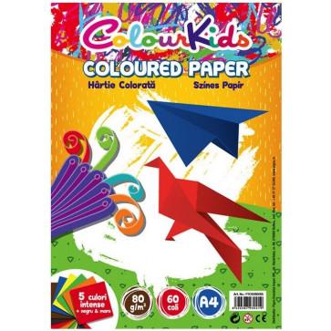Hartie colorata A4, 80g, 5 culori intense + negru + maro, 60 coli/set, PIGNA ColourKids