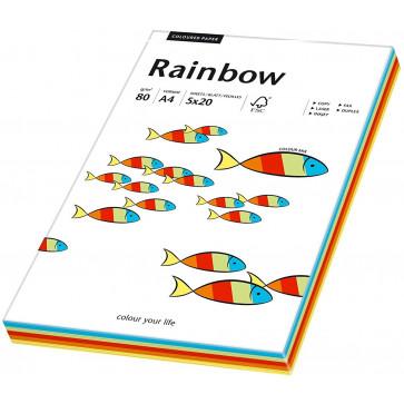 Hartie colorata A4, mix intens, 80 g/mp, 5 x 20 coli/top, RAINBOW
