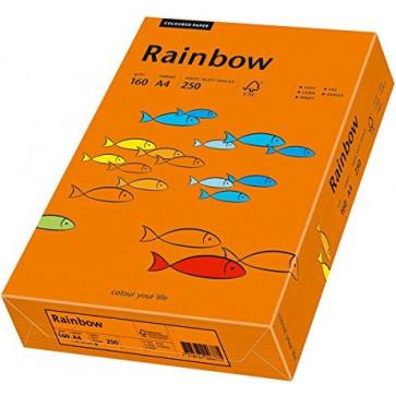 Hartie colorata A4, portocaliu intens, 160 g/mp, 250 coli, RAINBOW