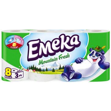 Hartie igienica, 3 straturi, 8 role, EMEKA Mountain Fresh