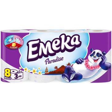 Hartie igienica, 3 straturi, 8 role, EMEKA Paradise