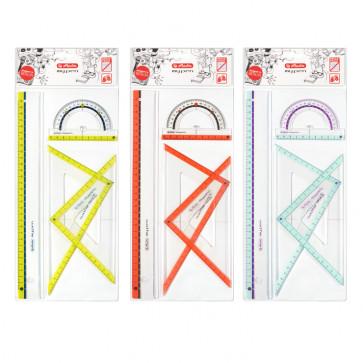 Set geometrie, 4 piese, diferite culori, HERLITZ My.Pen