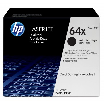 Toner, black, Nr. 64X, 2 buc./set, HP CC364XD