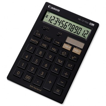 Calculator de birou, antibacterial, 12 digiti, negru, CANON HS-121TGA