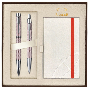 Set PARKER IM Premium Vacumatic Pink Pearl CT - Roller + Pix
