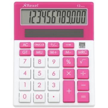 Calculator de birou, 12 digiti, roz, REXEL JOY