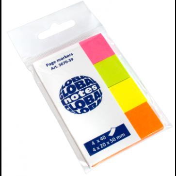 Index autoadeziv, din hartie, 20 x 50mm, 40 indecsi/culoare, 4 culori neon/set, GLOBAL NOTES