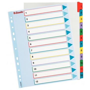 Separatoare din carton cu index 1-12, A4, reinscriptibil, ESSELTE