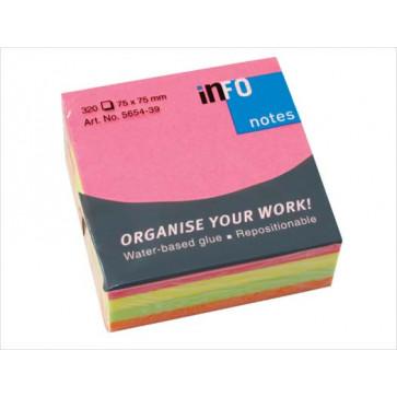 Notes autoadeziv, 75 x 75mm, 320 file/set, diferite culori intense, INFO NOTES
