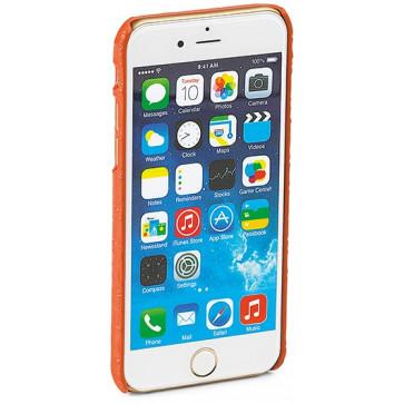 Carcasa iPhone 6, portocaliu, textura piele de crocodil, FEDON