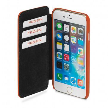Carcasa iPhone 6 Plus, portocaliu, din piele de bovina, FEDON