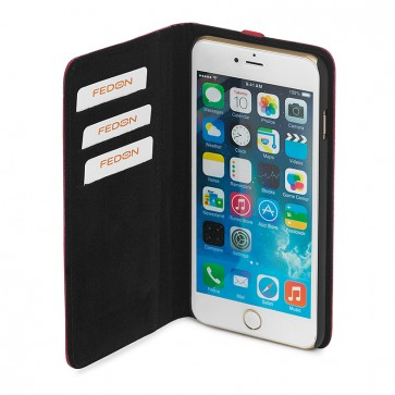 Carcasa iPhone 6, negru, din piele de bovina, FEDON