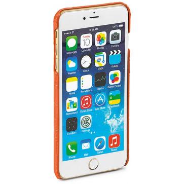 Carcasa iPhone 6 Plus, portocaliu, textura piele de crocodil, FEDON